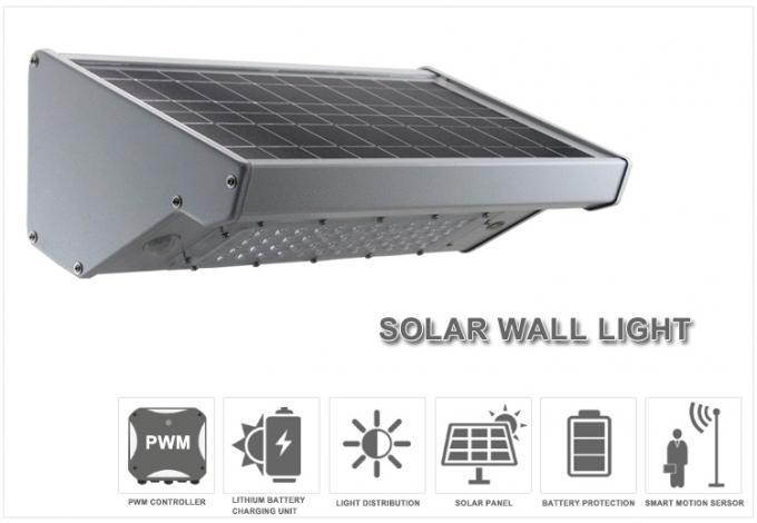1000lm White Solar Outdoor Wall Lights 10w Aluminum Body For Garden