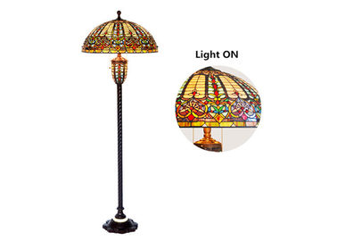 Vintage Baroque Warm Light Floor Lamp With Led Bulb Tiffany Style Easy Move